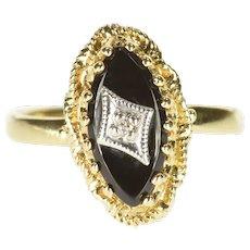 10K Marquise Black Onyx Diamond Overlay Statement Ring Size 5.75 Yellow Gold [QRQC]