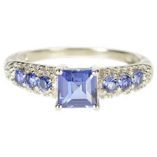 10K Princess Syn. Sapphire Accent Statement Ring Size 5 Yellow Gold [QRQC]
