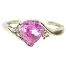 10K Heart Syn. Pink Sapphire Diamond Bypass Ring Size 5 White Gold [CXXK]