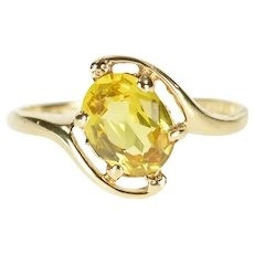 10K Oval Yellow Cubic Zirconia Bypass Statement Ring Size 6 Yellow Gold [CXXK]