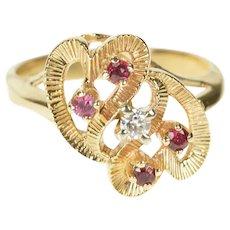 10K Retro Ruby Diamond Wavy Heart Statement Ring Size 5.75 Yellow Gold [CXXK]