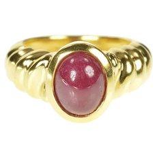 18K Natural Ruby Cabochon Ornate Twist Design Ring Size 6.25 Yellow Gold [CXXK]