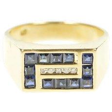 14K Princess Sapphire Diamond Men's Squared Ring Size 10 Yellow Gold [QRQC]