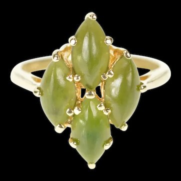 14K Nephrite Jade Marquise Cluster Statement Ring Size 4.25 Yellow Gold [CXXK]