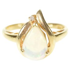 14K Pear Natural Opal Diamond Accent Statement Ring Size 6 Yellow Gold [CXXS]