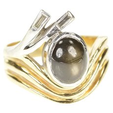 14K Two Tone Retro Black Star Sapphire Diamond Ring Size 7.25 Yellow Gold [CXXS]