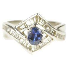 Platinum 0.97 Ctw Sapphire Diamond Baguette Engagement Ring Size 5  [CXXS]