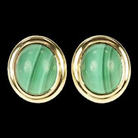 14K Oval Malachite Cabochon Retro Stud Earrings Yellow Gold [CXXS]