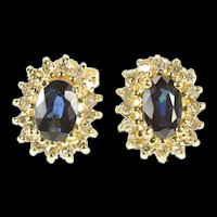 10K Diamond Halo Oval Natural Sapphire Stud Earrings Yellow Gold [CXXS]
