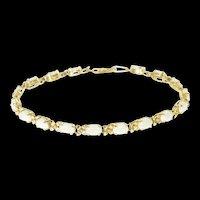 "14K Oval Natural Opal Dogwood Flower Tennis Bracelet 7"" Yellow Gold [CXXS]"