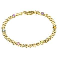 "14K Retro Round Rainbow Stone Bar Link Bracelet 7.25"" Yellow Gold [CXXS]"