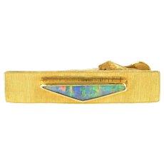 9K Men's Black Opal Inlay Textured Square Tie Bar Yellow Gold [CXXS]