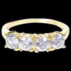 14K Purple Cubic Zirconia 4.7mm Wedding Band Ring Size 4.75 Yellow Gold [CXXS]