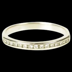 14K 2.2mm Channel Inset Diamond Wedding Band Ring Size 5.25 White Gold [CXXS]