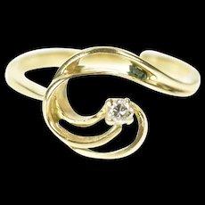 14K Diamond Solitaire Wave Swirl Design Statement Ring Size 5.25 Yellow Gold [CXXS]