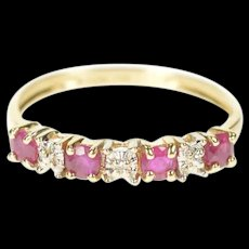 10K Ruby Diamond Inset Simple Wedding Band Ring Size 5 Yellow Gold [CXXS]