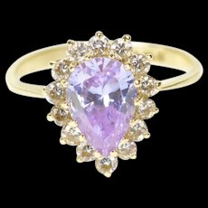 14K Pear Purple Cubic Zirconia Halo Cocktail Ring Size 7.75 Yellow Gold [CXXS]