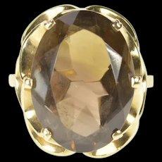 14K Oval Smoky Quartz Scalloped Cocktail Ring Size 5 Yellow Gold [CXXS]