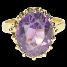14K Oval Retro Amethyst Solitaire Ornate Cocktail Ring Size 6 Yellow Gold [CXXS]