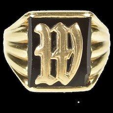 10K Art Deco Black Onyx W Letter Monogram Initial Ring Size 7.75 Yellow Gold [CXXS]