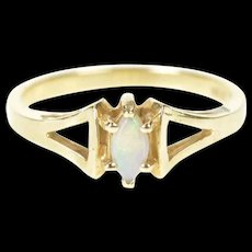 14K Natural Opal Marquise Solitaire Retro Ring Size 6.25 Yellow Gold [CXXS]