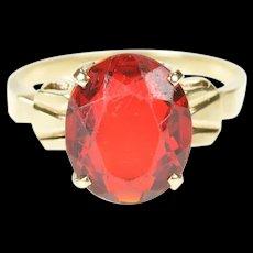 10K Oval Sim. Ruby Retro Statement Cocktail Ring Size 7 Yellow Gold [CXXS]