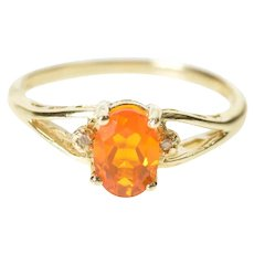 14K Oval Syn. Mexican Fire Opal Diamond Accent Ring Size 7 Yellow Gold [CXXS]