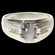 10K Oval Sim. Grey Cat's Eye Diamond Accent Ring Size 10.25 White Gold [CXXS]