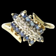 10K Diamond Sapphire Halo Cluster Bypass Ring Size 5.75 Yellow Gold [CXXS]