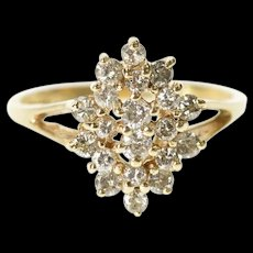 14K Marquise Diamond Cluster Fancy Dinner Ring Size 3.5 Yellow Gold [CXXS]