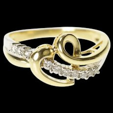 10K Wavy Diamond Heart Loop Anniversary Gift Ring Size 7 Yellow Gold [CXXS]