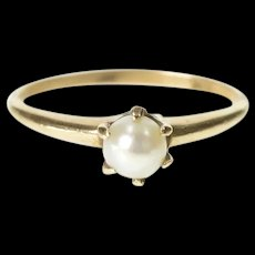 10K Classic Victorian 4.9mm Pearl Engagement Ring Ring Size 6.5 Yellow Gold [CXXS]