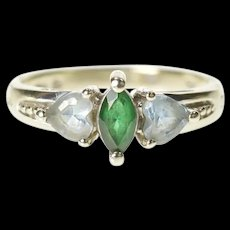 10K Marquise Syn. Emerald Heart Blue Topaz Ring Size 4.5 White Gold [CXXS]