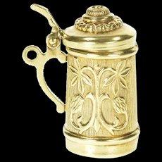 14K 3D Ornate German Beer Stein Mug Oktoberfest Charm/Pendant Yellow Gold [CXXS]