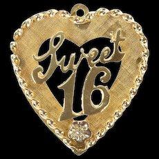 14K Sweet 16 Sixteenth Heart Diamond Charm/Pendant Yellow Gold [CXXS]