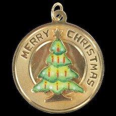 14K Enamel Merry Christmas Tree Retro Holiday Charm/Pendant Yellow Gold [CXXS]