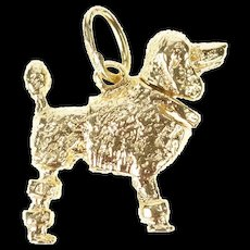14K 3D Articulated French Poodle Dog Pet Charm/Pendant Yellow Gold [CXXS]
