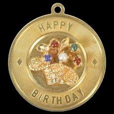 14K Retro Happy Birthday Basket Bouquet Charm/Pendant Yellow Gold [CXXS]