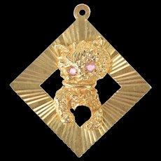14K Kitten Kitty Pearl Ball of Yarn Retro Square Charm/Pendant Yellow Gold [CXXS]