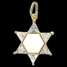 14K Star of David Jewish Faith Cubic Zirconia Charm/Pendant Yellow Gold [CXXS]