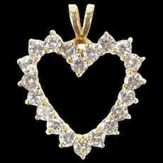 14K Classic Heart Love Symbol Cubic Zirconia Pendant Yellow Gold [CXXS]