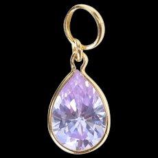 14K Pear Purple Cubic Zirconia Solitaire Charm/Pendant Yellow Gold [CXXS]