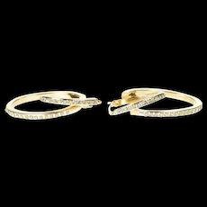 14K Criss Cross Oval Resin Dotted Statement Hoop Earrings Yellow Gold [CXXS]