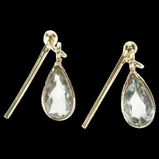 14K Pear Blue Topaz Bezel Dangle Post Back Earrings Yellow Gold [CXXS]