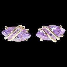 14K Marquise Purple Cubic Zirconia Wavy Stud Earrings Yellow Gold [CXXS]