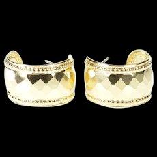 14K Studded Pattern Dot Trim Semi Hoop Earrings Yellow Gold [CXXS]