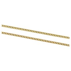 """18K 1.8mm Fancy Curb Link Long Classic Chain Necklace 23.25"""" Yellow Gold [CXXS]"""