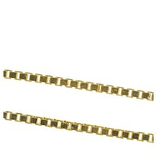 """14K 1.3mm Square Chain Classic Box Link Necklace 24"""" Yellow Gold [CXXS]"""