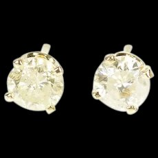 14K 0.74 Ctw Round Diamond Solitaire Classic Stud Earrings Yellow Gold [CXXS]