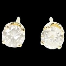 14K 0.52 Ctw Diamond Solitaire Classic Stud Earrings Yellow Gold [CXXS]